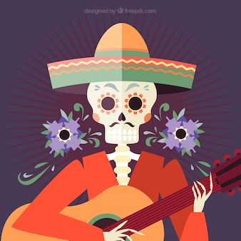 Background of mexican skull with hat and guitar