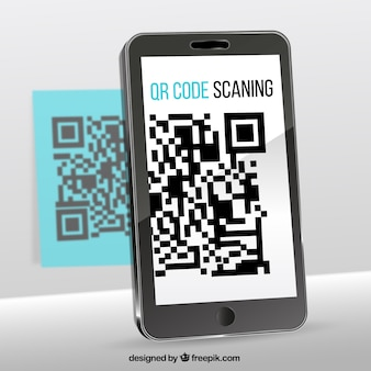 Background of mobile phone scanning qr code