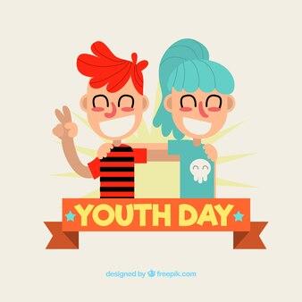 Background of modern boys celebrating the youth day