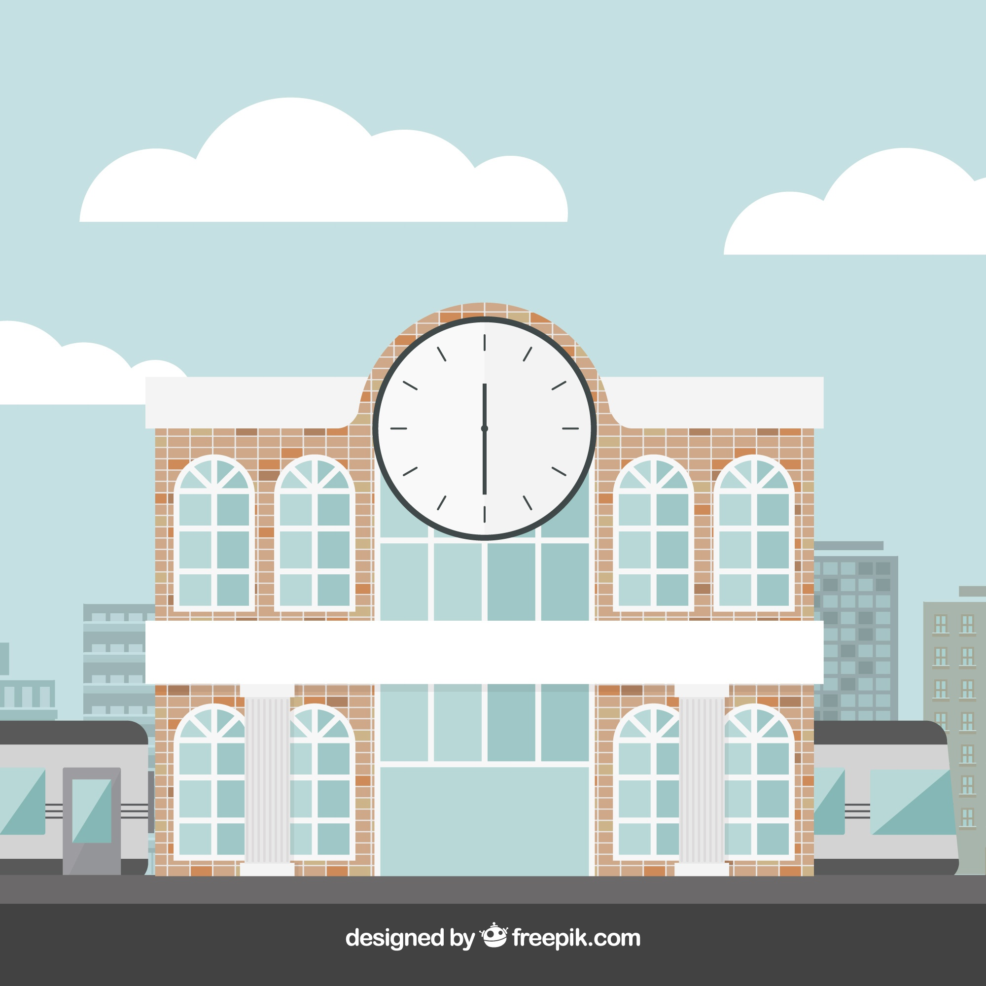 Background of modern train station with a big clock