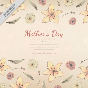 Background of mother's day with hand drawn flowers