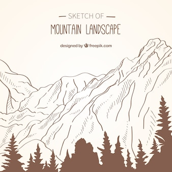 Background of mountain landscape sketches