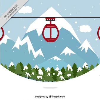 スキーと山岳風景の背景