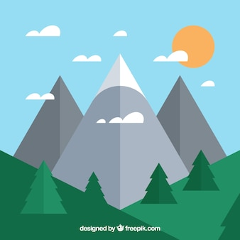 Background of mountains and forest in flat design