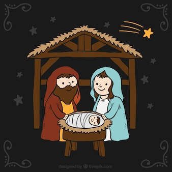 Background of nativity scene with night sky and shooting star