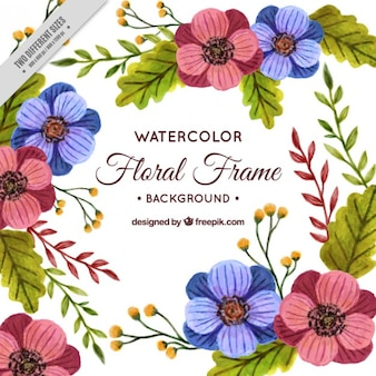Background of nature with watercolor flowers