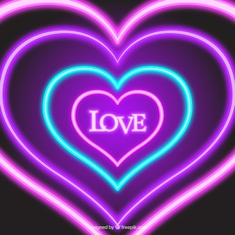 Background of neon hearts with the word love