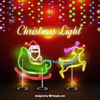 Background of neon santa claus with sleigh