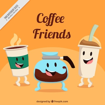 Background of nice coffee characters