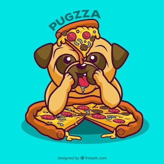 Background of nice dog eating pizza