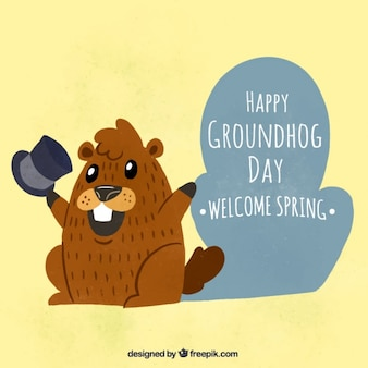 Background of nice groundhog with hat in vintage style