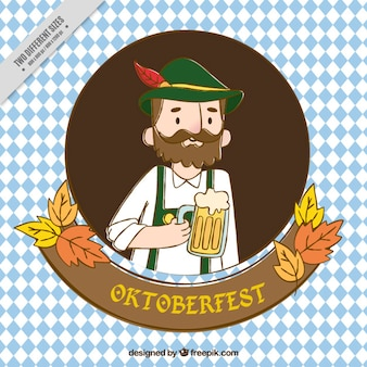 Background of nice man with typical clothes of oktoberfest