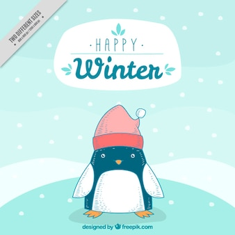 Background of nice penguin character with hat