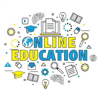 Background of online education with color details