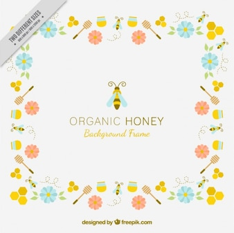 Background of organic honey with flowers and bees