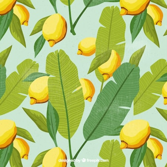 Background of palm leaves and lemons