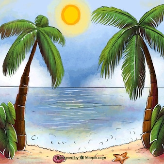 Background of paradise landscape with palm trees