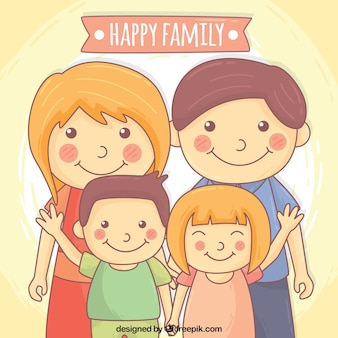 Background of parents with hand drawn happy children