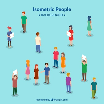 Background of people in isometric perspective