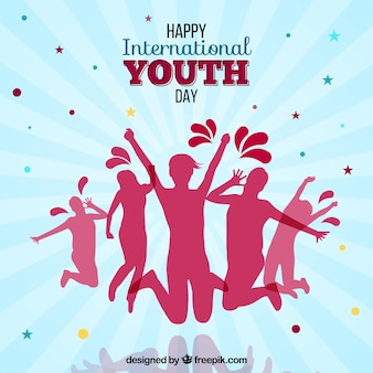 Background of people silhouettes of happy international youth day