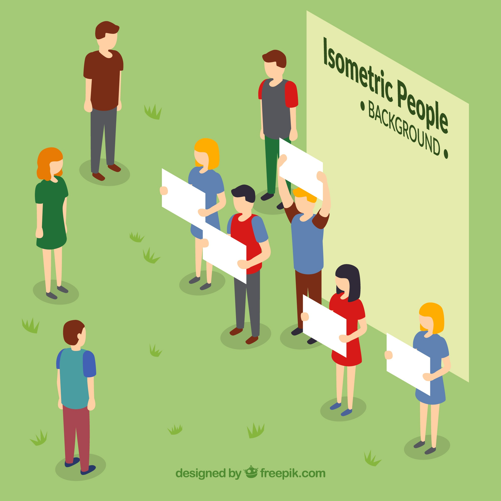 Background of people with white posters in isometric perspective
