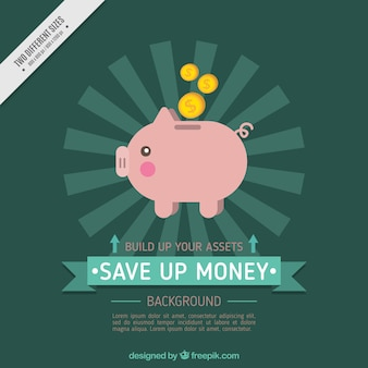 Background of piggy bank in flat design