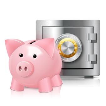 Background of piggybank and safe deposit box
