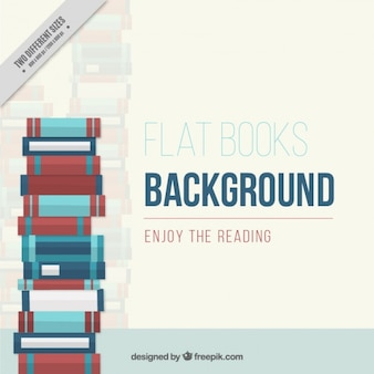 Background of pile of books in flat design