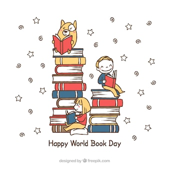 Background of pile of books with boy and pet reading