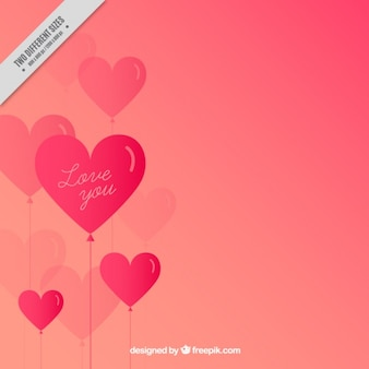 Background of pink heart balloons