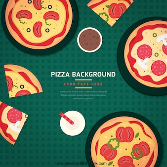 Background of pizzas and drinks in flat design