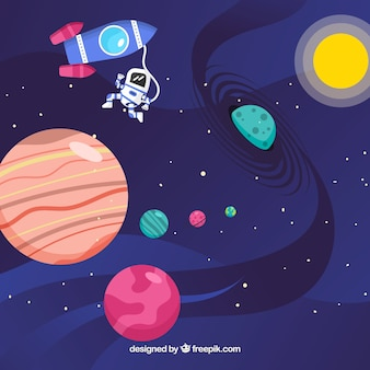 Background of planets with sun and rocket