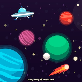 Background of planets with ufo
