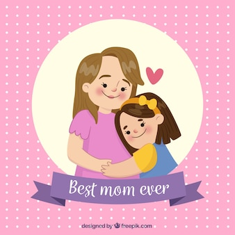 Background of polka dots with scene of mother and daughter