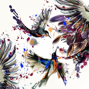 Background of pretty birds with illustrated flowers and splashes of paint