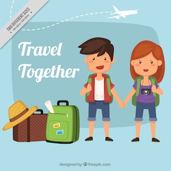 Background of pretty couple with luggage