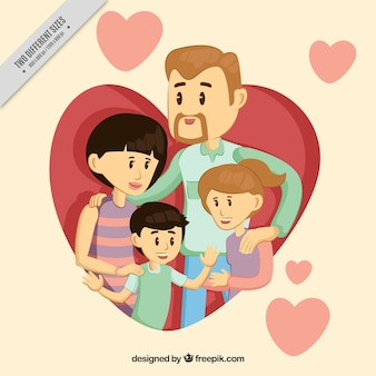 Background of pretty family with children and hearts