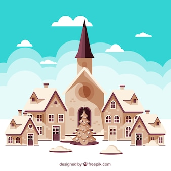 Background of pretty houses and church and christmas tree
