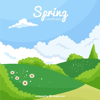 Background of pretty spring meadow