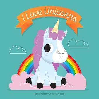 Background of pretty unicorn and rainbow