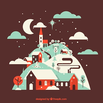 Background of pretty winter village in vintage style