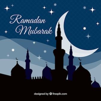 Background of ramadan mubarak of mosque silhouette