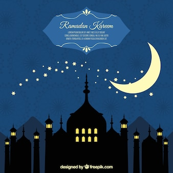 Background of ramadan silhouettes with moon