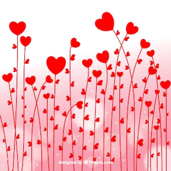 Background of red hearts flowers