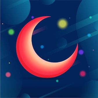 Background of red moon with colorful shapes