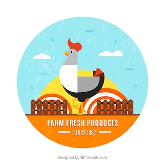 Background of rooster in the farm in flat design
