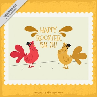 Background of rooster new year stamp in vintage style
