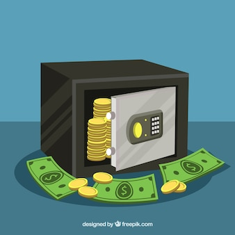 Background of safe with coins and banknotes