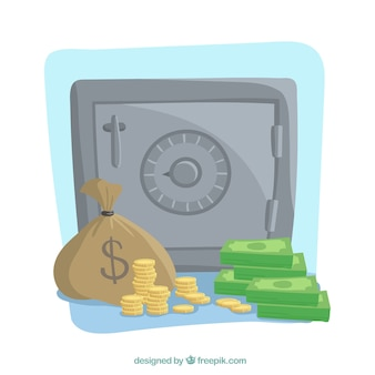 Background of safe with notes and coins