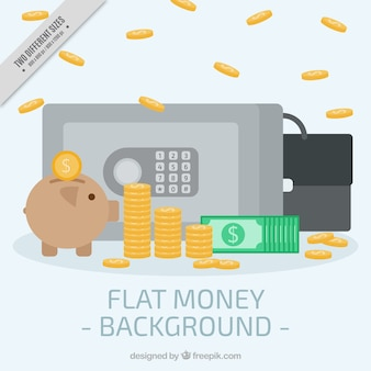 Background of safe with piggy bank and coins